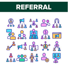 Referral marketing collection icons set vector
