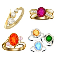 ring set with precious stones on whit vector image
