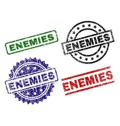 Scratched textured enemies seal stamps vector