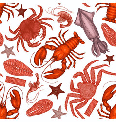 seafood seamless pattern hand drawn seafood vector image