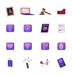 set icons masterpiece picture laptop vector image