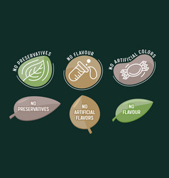 Set icons no preservatives artificial flavors vector