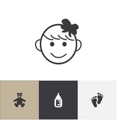Set of 4 editable child icons includes symbols vector