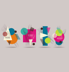 set of abstract geometric shapes retro design for vector image