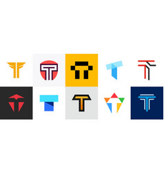 set of letter t logo vector image
