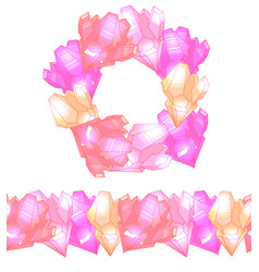 set of round frame with cute multicolored pink vector image