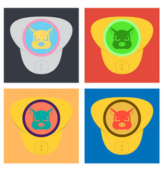 Set of superhero color flat badges emblems logos vector