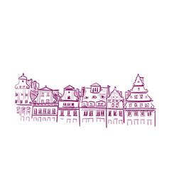sketch european view wroclaw buildings vector image
