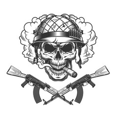 skull in soldier helmet smoking cigar vector image