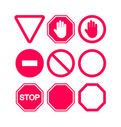Stop signs set in red and white flat style vector