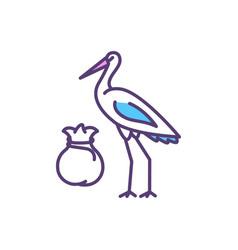 stork bringing baby rgb color icon vector image