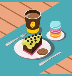 Sweet breakfast composition vector