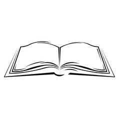 symbolic sketch of open book vector image