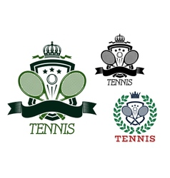 Tennis heraldic emblems on crowned shields vector image