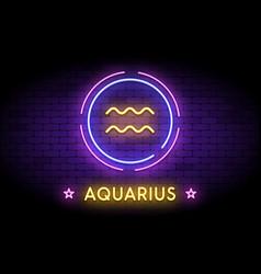 The aquarius zodiac symbol in neon style vector