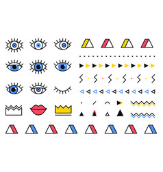 Trendy geometric shapes set in 80s style vector