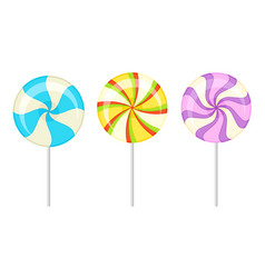Twisted and swirling lollipops on sticks vector