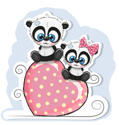 two pandas is sitting on a heart vector image