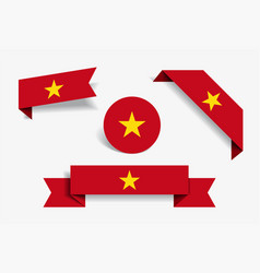 vietnamese flag stickers and labels vector image