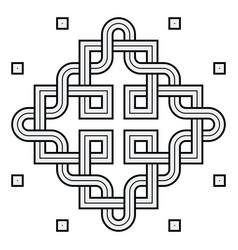 viking decoration knot - interweaved squares vector image