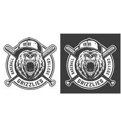vintage baseball college team mascot label vector image