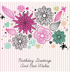 Vintage Floral Birthday Card vector image