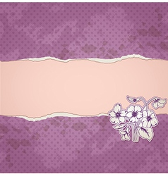 violet paper and flowers vector image