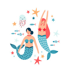 water nymph and sea inhabitants flat vector image