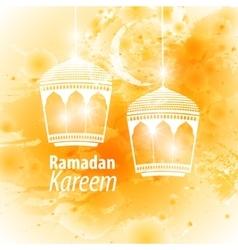 Watercolor yellow blob ramadan kareem vector