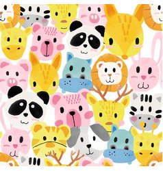 Watercolour cute animal faces pattern seamless vector
