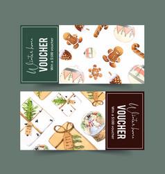Winter home voucher design with cookies vector