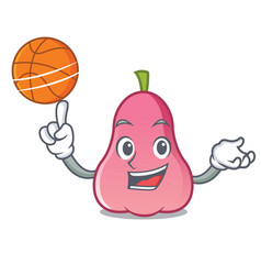 with basketball rose apple character cartoon vector image