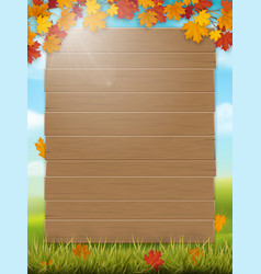 wooden sign on rural landscape background vector image