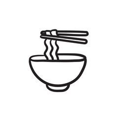 bowl of noodles with pair chopsticks sketch icon vector image vector image