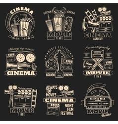 Cinema Dark Emblem Set vector image vector image