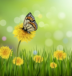 Green summer background with dandelions and a vector image