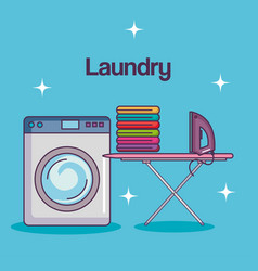 laundry service clean wash machine table ironing vector image