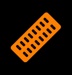 medical pills sign orange icon on black vector image