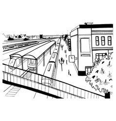 Monochrome sketch top view of railway station vector