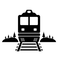 rail road icon with moving train vector image vector image