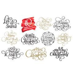 set of ten hand written christmas calligraphy vector image