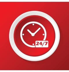 All hours icon on red vector