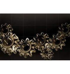 Gears background Black horizontal vector image