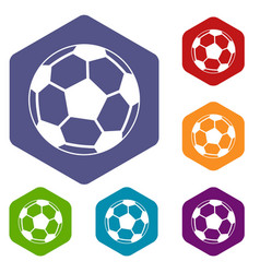 soccer ball icons set vector image