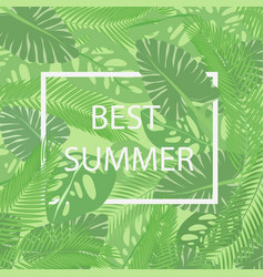 the best summer lettering in a frame on the vector image