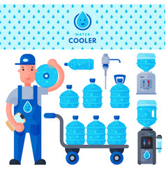 water delivery service man character in uniform vector image vector image