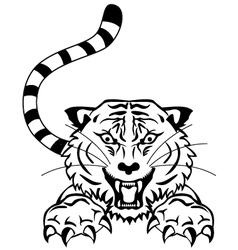 angry tiger tattoo vector image vector image