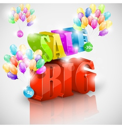 Big 3D sale with colorful bubbles vector image vector image