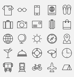 Collection of travel line icon vector image