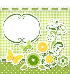 Floral scrapbook green set vector image vector image